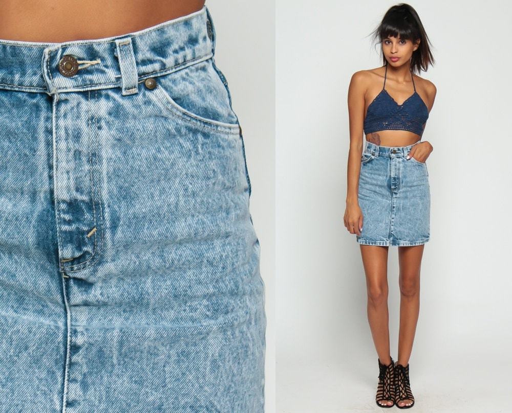 Levis Denim Skirt Jean Skirt Denim Mini Skirt ACID Wash 80s