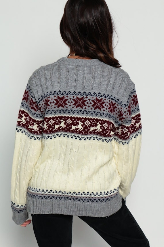 Deer Sweater Fair Isle Sweater 80s Vintage Animal Sweater