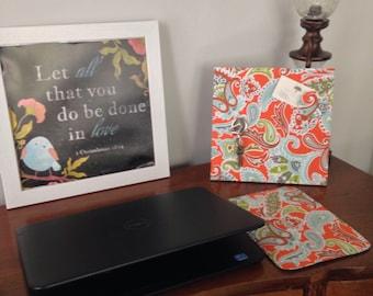 Client Gift, Magnetic Board, Paisley Orange Teal, Desktop Organizer, Deskscape, Decorative Magnetic Bulletin Board, Magnet Board