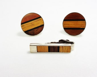 Vintage Sterling Wood Panel Cufflinks and Tie Bar