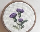 Cross Stitch Hoop - Thistle
