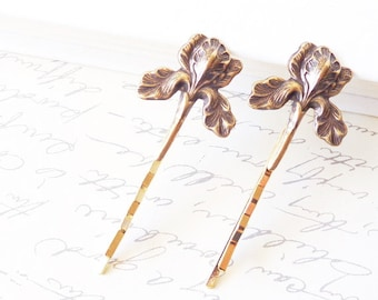 Golden Iris Flower Hair Pins - Ox Brass Iris Flower Bobby Pins - Woodland Hair Pins - Rustic - Nature - Bridal Hair