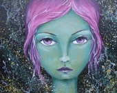 Original Mixed Media Fantasy Mermaid Girl Painting By Sujati Art Studio