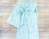 Aqua Damask Maternity Kimono Labor and Delivery Robe  and Gown Set - Perfect for Skin to Skin Breastfeeding