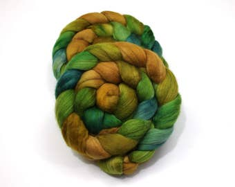 Camel/ Merino Wool/ Cultivated Silk Roving (40/40/20) - Handpainted Spinning Fiber