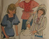 Simplicity 8176/Girls Vintage Sewing Pattern/Pullover Tops/Size 12-14/Chest 30-32/1977
