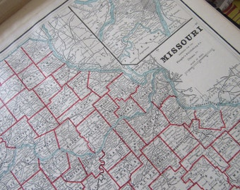 1891 Map- Missouri/Michigan, Wisconsin/Kansas- 3 Sided Atlas Page 21 x 14.5 in Great for Framing