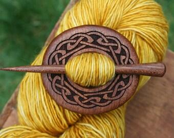 Celtic Mahogany Shawl Pin - Handmade Wooden Shawl Pin in Reclaimed Wood - Eco Knitting Supplies