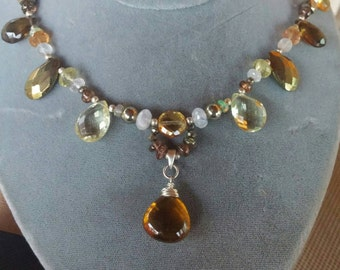 Multi Stone Necklace, Brown Necklace, Citrine Necklace, Opal,  Moonstone & Topaz Necklace, Chalcopyrite Necklace, Golden Stone Pendant