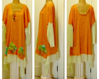 Scarecrow Dress With Sleeves Large, XL, 1X, 2X Patchwork Halloween Womens Lagenlook Costume Orange, Green Pumpkin