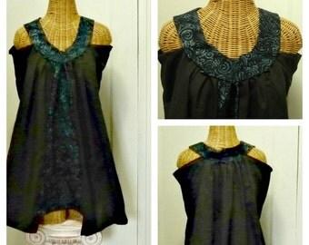 Black Batik Dress Modern Tribal XL, 1X or 2X Women's Summer LBD Tunic Cotton A Line