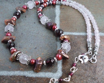 Rose Quartz, Garnet, and Pearl Necklace, Gemstone Beaded Necklace, Pink Red, Handmade Jewelry, Made in USA, Gift for Her