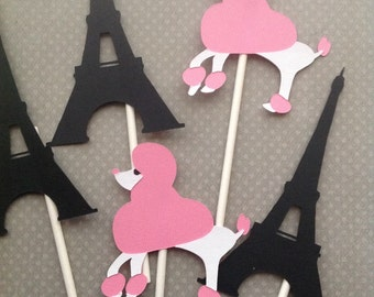 Paris Inspired Cupcake Toppers - Set of 12
