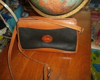 Dooney and Bourke Leather Crossbody Bag Black and Tan Zip Top