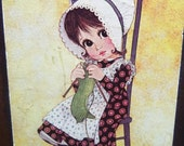 70% OFF CLEARANCE Wooden Plaque by Ward Vintage 70s Little Prairie Girl Knitting Kitten Wall Hanging