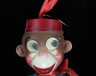 Bellhop  Monkey with Holographic Moving Eyes Red Corduroy  Original 1940's Toy-Collectible Monkey