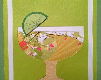 """Martini glass with a Lime, Note card, 5"""" x 7"""", hand crafted, inside blank, Iris paper folding technique"""