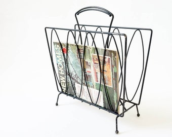 Vintage 1960s Magazine Rack / Black Painted Metal, Knobbed Feet