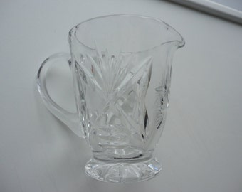 50s Creamer Early American Prescut Clear Glass Creamer Anchor Hocking
