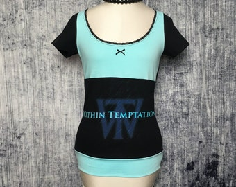 Within Temptation Women's Gothic T-Shirt // Reconstructed T-Shirt // Size X-Small // Alternative Clothing Apparel Goth