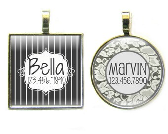 Wedding Party Personalized Dog ID Pet Tag Custom Pet Tag You Choose Tag Size & Colors- Pinstripe or Lace