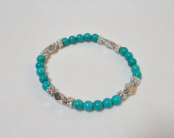 Turquoise and pewter stretch bracelet