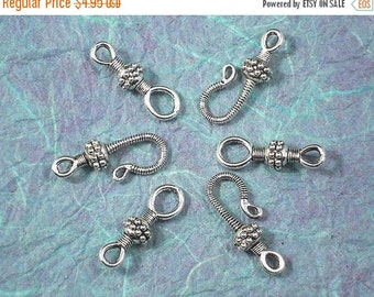 SALE 12 Bali Style Hook Eye Clasps in Antiqued Silver Tone Bali Style (P123 -12)