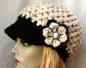 Ready to ship today 12/21 size M-L if ordered 12/21 by 3 pm NY time, Cold Weather Crochet Womens Hat, Newsboy Oatmeal, Chunky Wool JE808N8