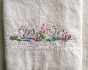 Vintage Swan pillowcase / hand embroidered