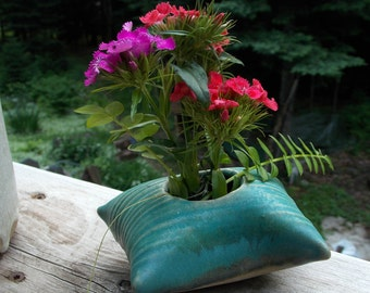 Clay Pillow Shaped Flower Vase ~ Teal ~