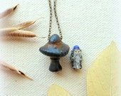 Psychedelic mushroom necklace fungus shroom necklace hippie jewelry