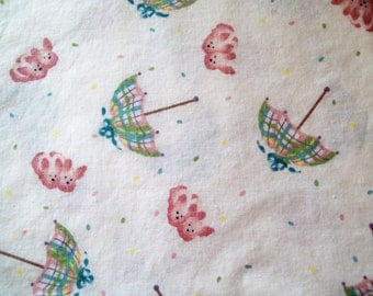 Daisy Kingdom, Bunny Bear Tossed, Vintage Fabric, Umbrella Fabric, Bunny Fabric, Rabbit Fabric, Quilting Fabric, Cotton Fabric, One Yard