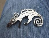ON SALE Vintage Coro Silver Horned Lizard Pin