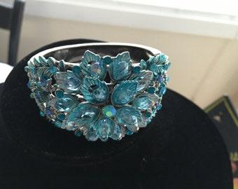 Vintage Chunky Blue Rhinestone Clamper Bracelet
