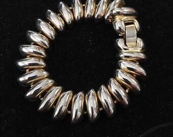 Vintage Chunky Gold Tone Metal Link Bracelet 1960s