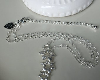 Wedding Jewelry, Bridal Necklace, Flower, Necklace, Swarovski Crystal Drop, Y Necklace, Lariat, Silver, textured, chain, Bridal