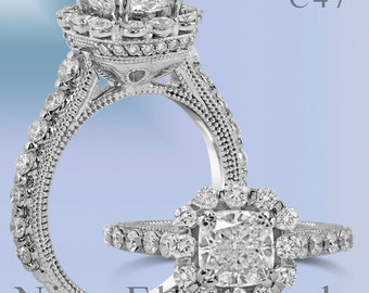 Cushion Halo Antique Diamond Engagement Ring With Milgrain C48