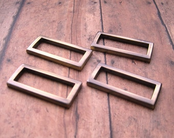 1.5 Inch D-Rings in Antique Brass,  Set of 4.