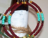 Earrings - Hoop Earrings - Beaded Hoop Earrings - Maroon Light Green Glass Beads - Hoop Dangle Handmade Earrings - Jewelry - Handmade