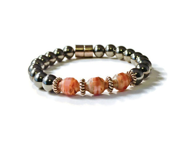 Magnetic hematite therapy bracelet with peach czech by for How does magnetic jewelry work