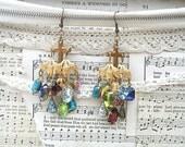 jeweled cross earrings chandelier assemblage religious acrylic