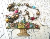 necklace spring easter basket assemblage repurpose statement