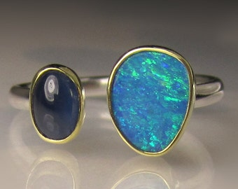 Boulder Opal and Blue Sapphire Ring, 18k Gold and Sterling Silver, Open Stone Ring, Double Stone Open Face Ring, size 6.25