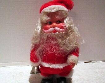 Vintage Santa Bell Ringer, Battery Operated, Taiwan, 80s Kitsch, Woolworth Store, Creepy Santa, Musical Shuffling Bell Ringer