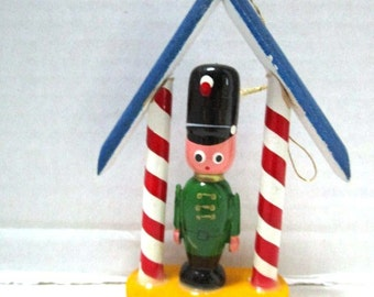 Vintage Wooden Ornament  Royal Guard, Taiwan, Package Tie On, Crafting, Miniature, Red White Blue, Holiday Souvenir