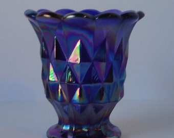 Vintage IMPERIAL Blue Carnival Glass Toothpick Holder. Diamond Pattern. Imperial Glass.