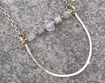 Aquamarine and herkimer diamond arc necklace