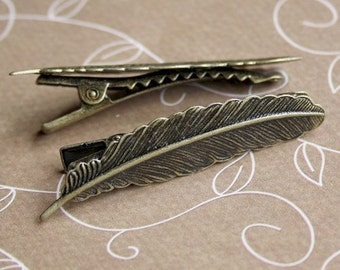 Vintage Antique Bronze Hair Clips with leaf Pack of 4