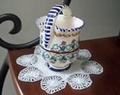 Vintage Home Decor Vase Small Hand Painted Ceramic Posy Vase
