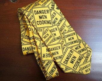Vintage Accessory Men's Necktie Danger Men Cooking Silk Necktie 1996